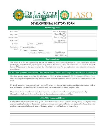 developmental history form
