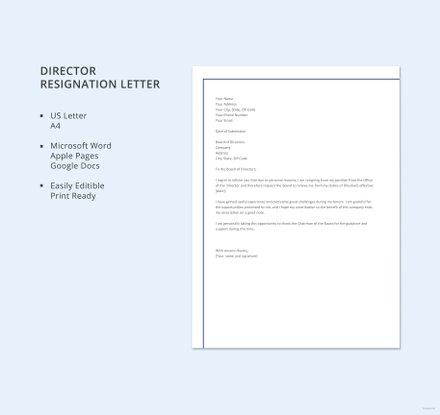 Director Resignation Letter Template