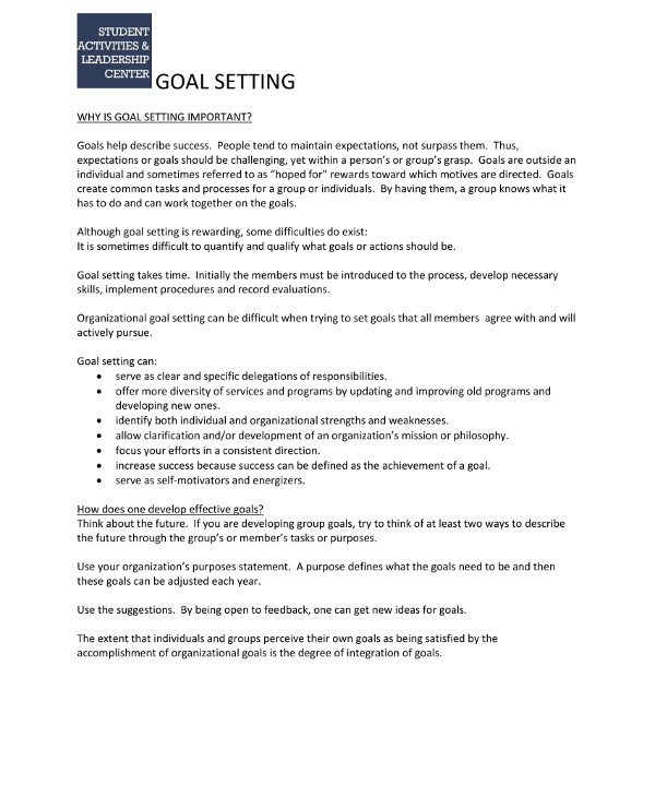 discussion on business goal setting example1