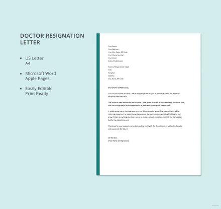 Doctor Resignation Letter