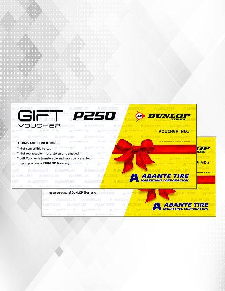 dunlop gift voucher sample