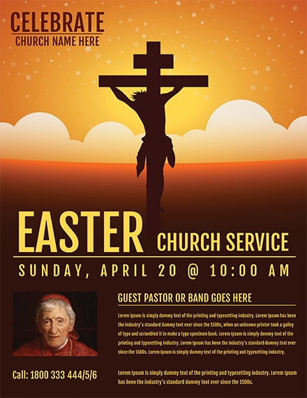 easter church service flyer template example