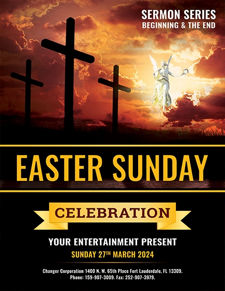 easter sunday church flyer template example