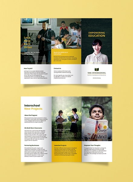 Education Trifold Brochure Template Example