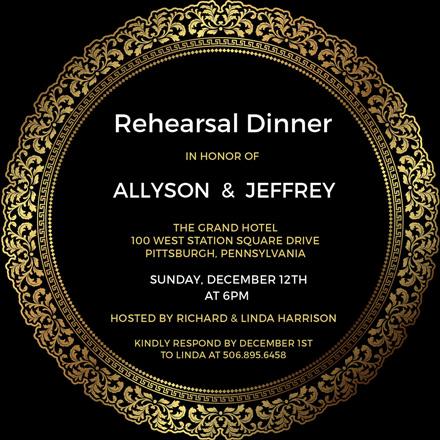 elegant rehearsal dinner invitation sample