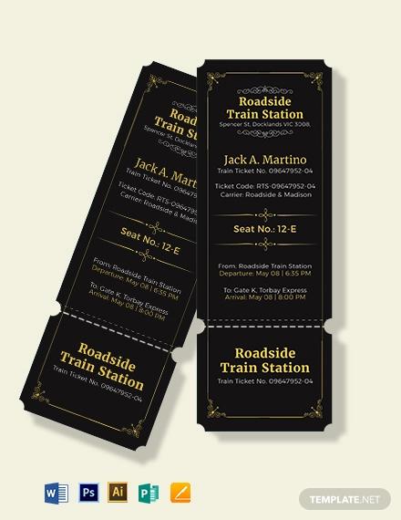 elegant train ticket template