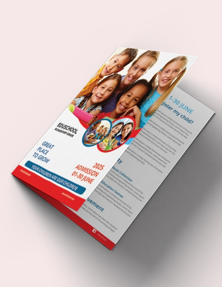 Elementary School Education Bi Fold Brochure Template Example