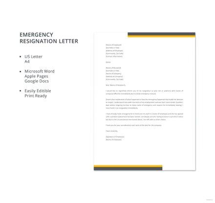 Emergency Resignation Letter