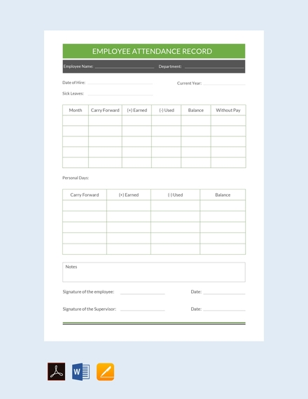 employee attendance record sheet template