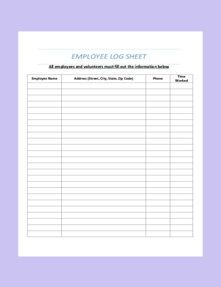 employee log sheet