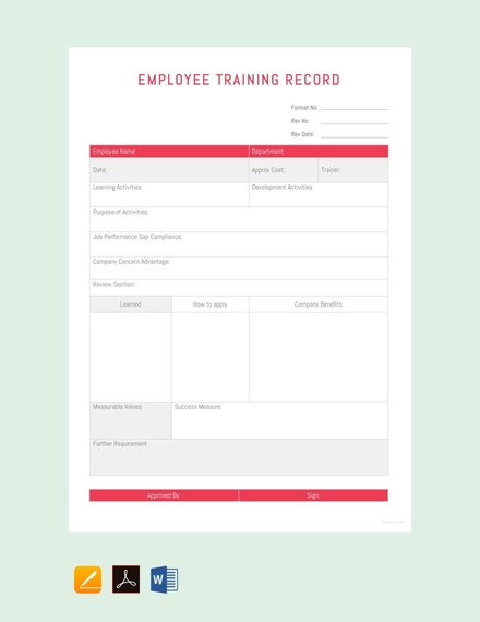 employee training record sheet template