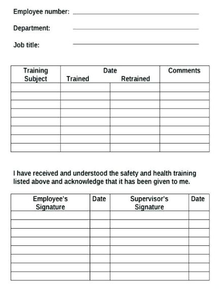 employee training record sheet