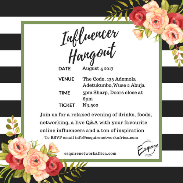 esquire influencer hangout party invitation