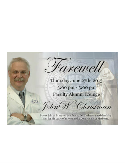 Faculty Farewell Party Invitation
