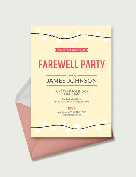farewell breakfast invitation