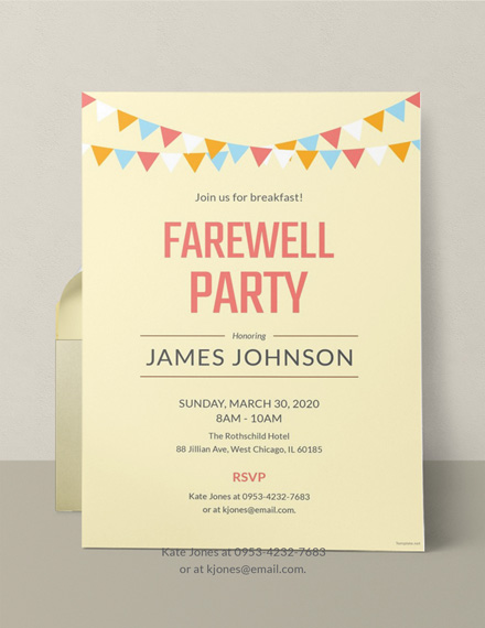 farewell breakfast party invitation