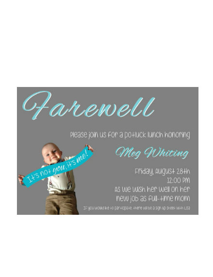 Farewell Potluck Lunch Invitation