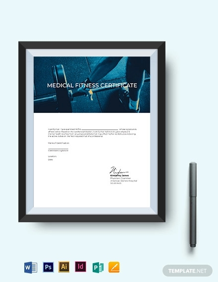 fitness medical certificate template