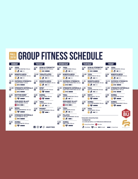 Fitness and Recreation Workout Schedule