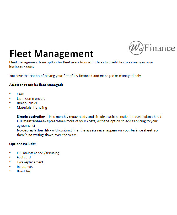 9+ Fleet Management Contract Examples- PDF | Examples