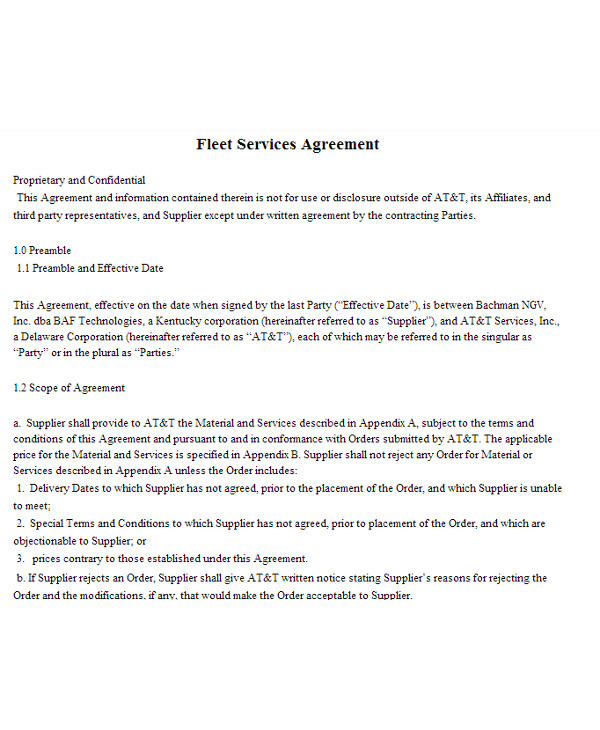 fleet management services agreement sample