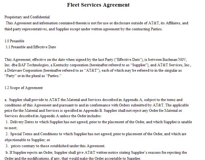 fleet management services agreement sample
