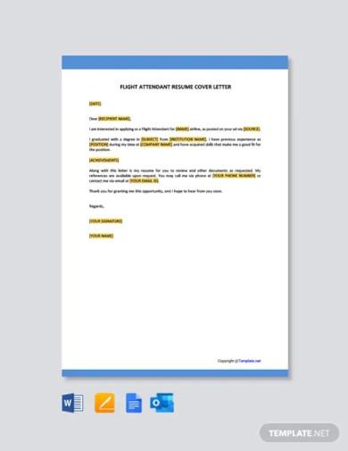 flight attendant resume cover letter template
