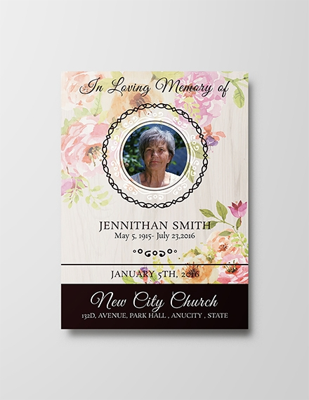 floral funeral thank you card templates