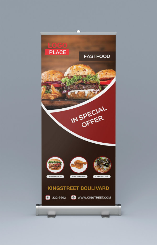 food roll up banner design example