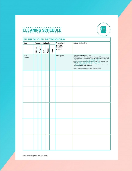 food standards agency cleaning schedule