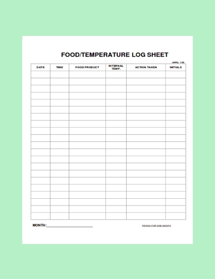 food and temperature log sheet