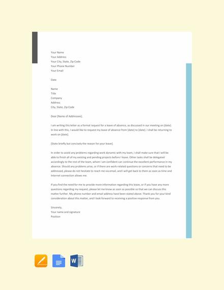 Formal Leave Letter