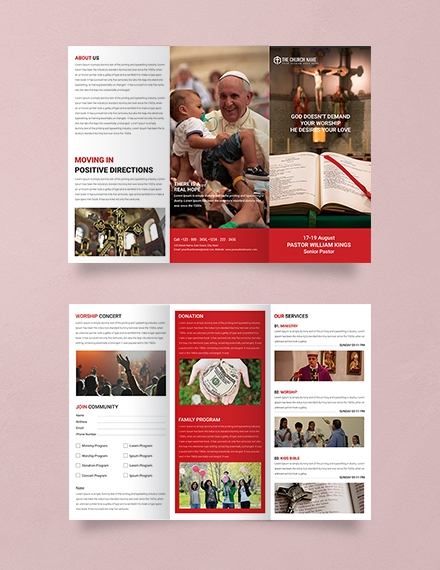 free a3 sample church brochure template example