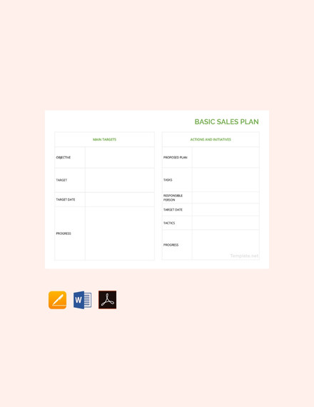 free basic sales plan template