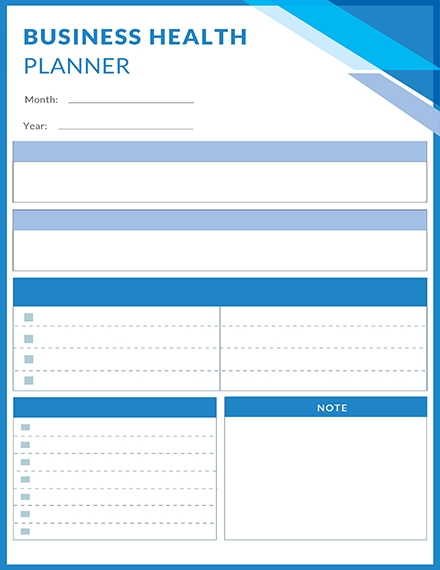 free business health planner template example