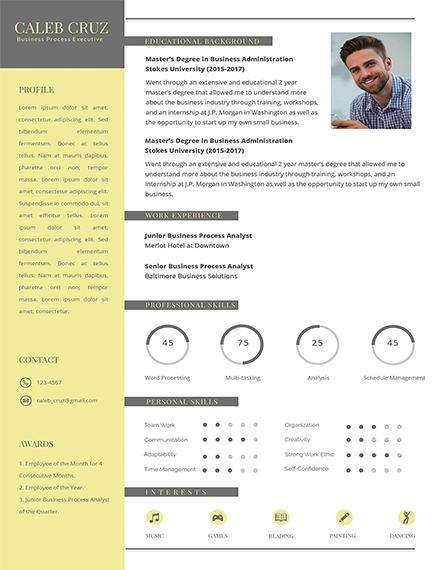 free business process executive resume design