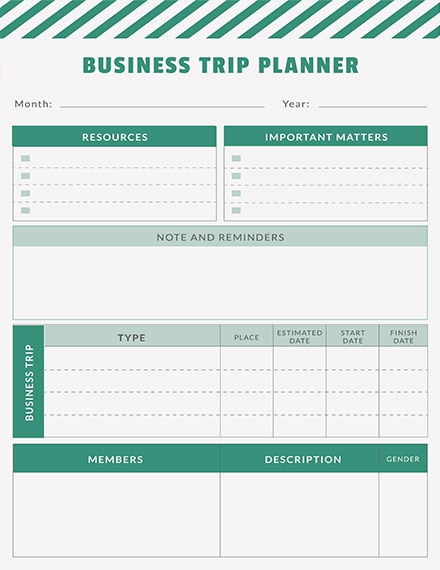 free business trip planner template example