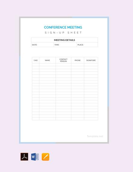 free conference sign up sheet design