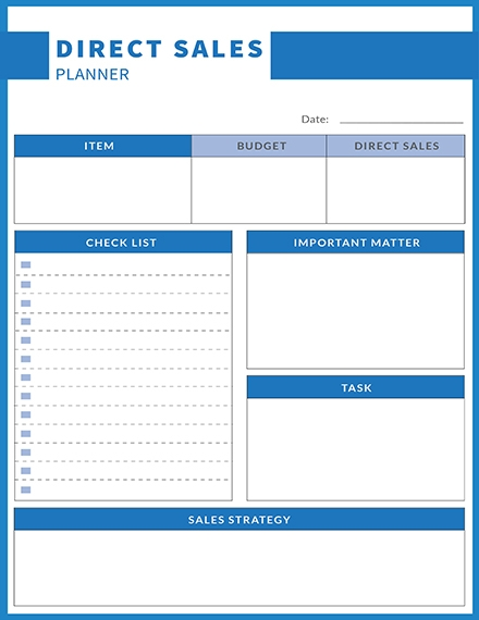 free direct sales planner template example