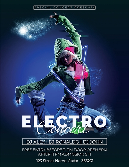 free electro concert flyer