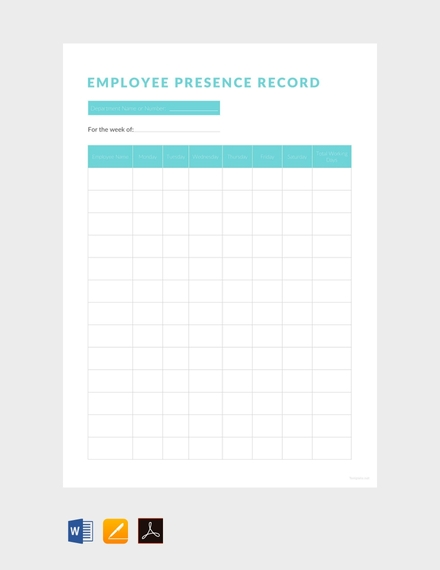 Free Employee Presence Record Sheet Design
