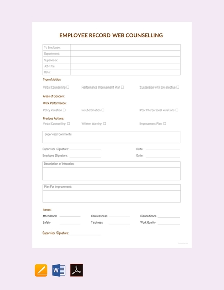 free employee record web counselling sheet sample