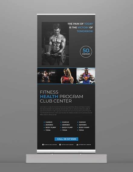 free fitness roll up banner template example