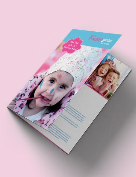 free kindergarten bi fold brochure template example