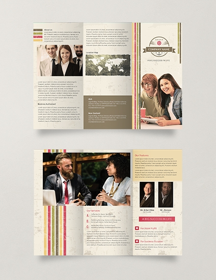 free multipurpose retro trifold brochure template example