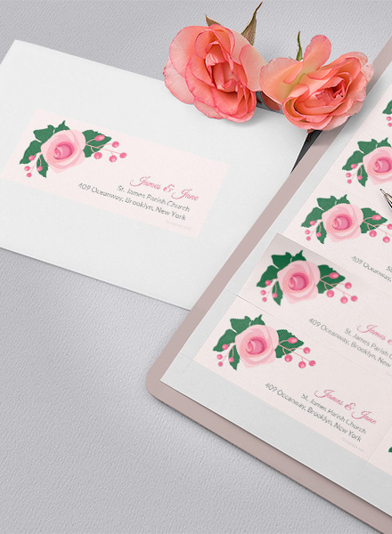free pink wedding address label design