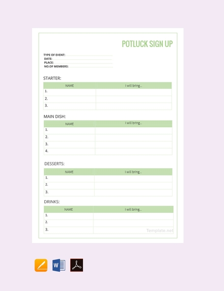 free potluck sign up sheet example