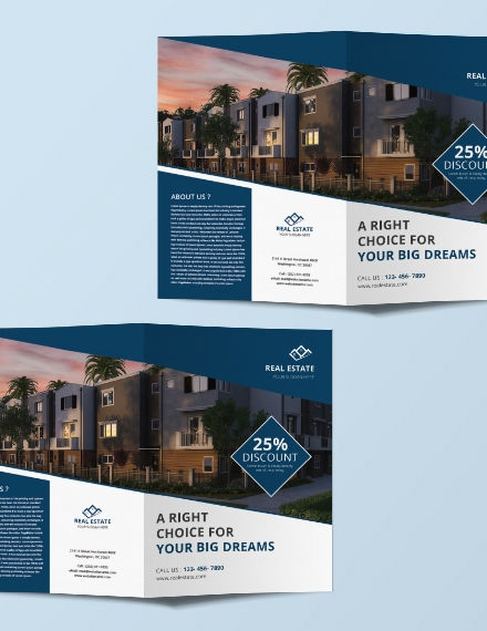 free real estate bi fold brochure design