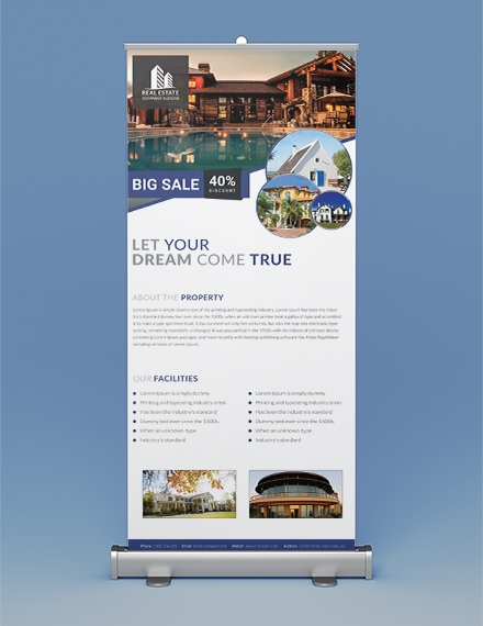 free real estate roll up banner template example