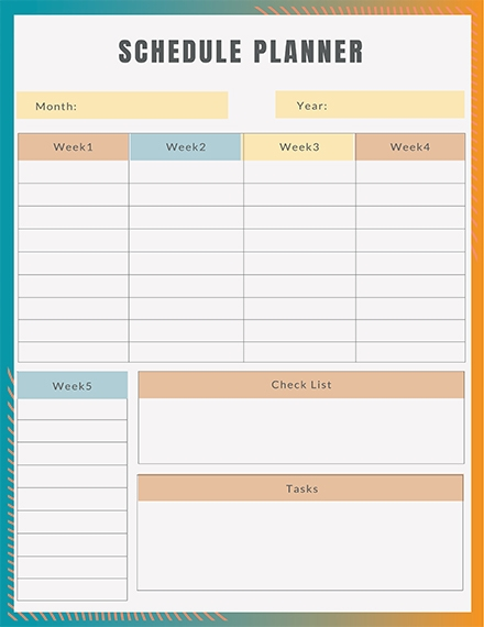 free schedule planner template example